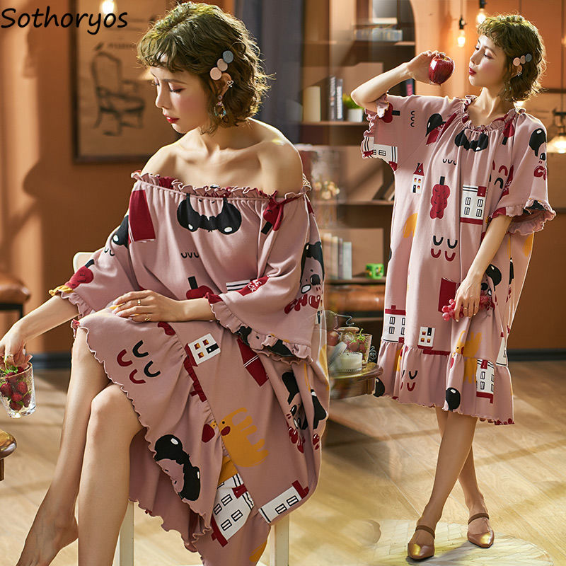 Nightgowns Women Summer Mid-calf 3XL Pleated Kawaii Ruffles Printed Korean Style Students Elegant Trendy Sleepwear Womens Chic
