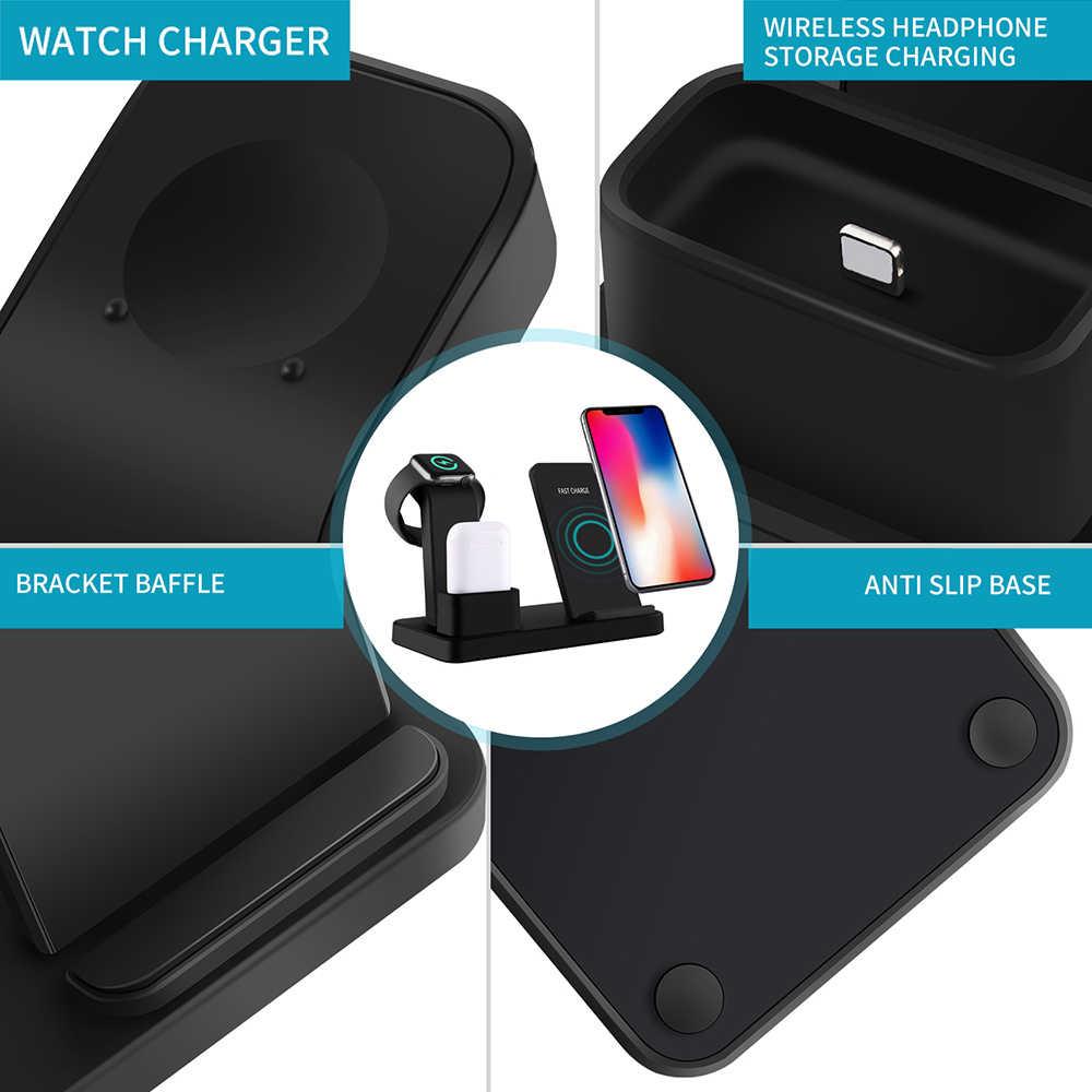 FDGAO ładowania 3 w 1 stojak na iPhone'a X XS Max XR 8 Plus Airpods Apple Watch 4 3 2 1 10W szybka Qi bezprzewodowa stacja dokująca ładowarki