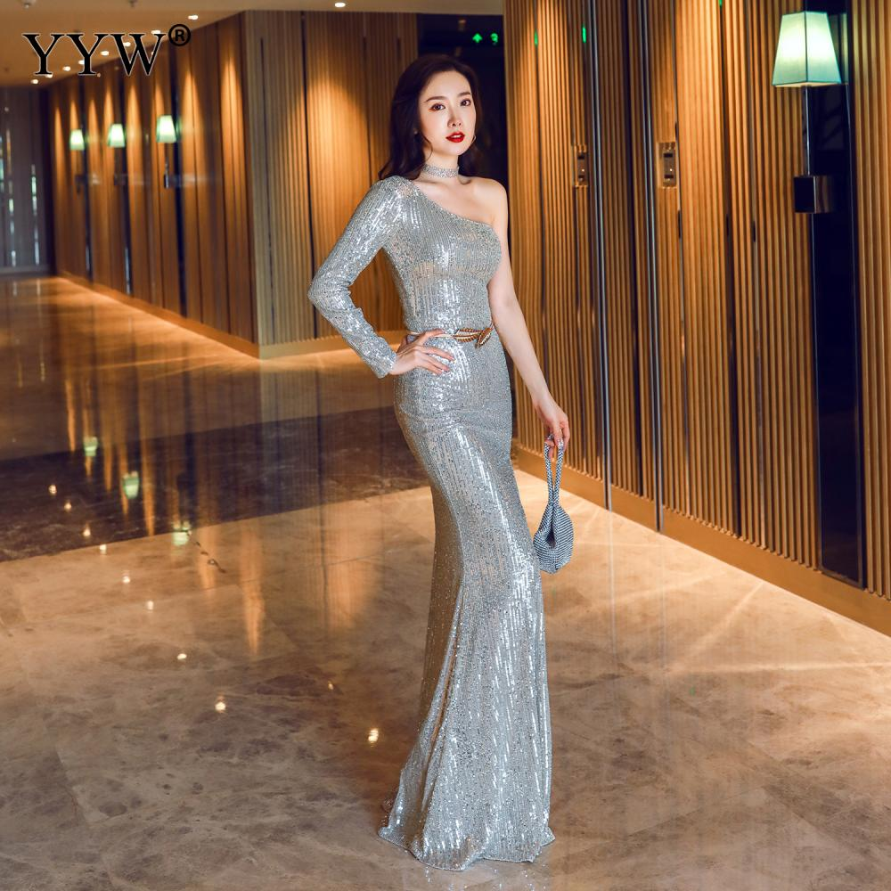 Luxury Sequins Women Evening Dresses Long Sleeve One Shoulder Sexy Robe De Soiree Ladies Formal Dress Side Slit Long Party Gowns