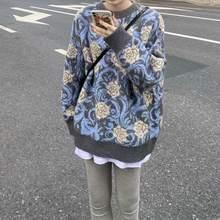 Модный новый плотный свитер с цветами и галстуком розы