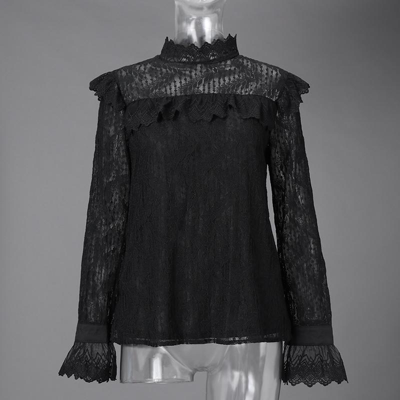 Стильные кружевные вязаные крючком рубашки для женщин, Весенняя блузка ZANZEA 2020, элегантные топы с высоким воротом и рюшами, Женская однотонн...