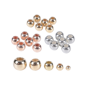 30-100Pcs/Lot Dia 4 6 8 10 12mm Gold Silver Diy Beads Accessories Big Large Hole CCB Spacer Loose Beads For Jewelry Making