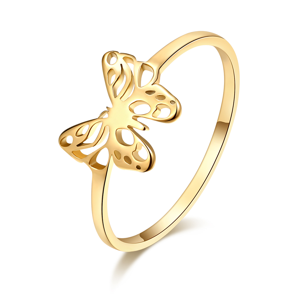 DOTIFI Women's Luxury Cutout Exquisite Butterfly Ring Gold and Silver Color 316L Stainless Steel Fashion Jewelry Party Gift