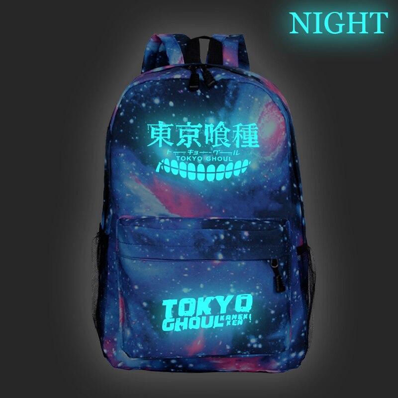 Tokyo Ghoul Backpacks Luminous School Backpack Bags Teenager Anime Bags Cartoon Sac A Dos Galaxy Mochila Travel Shoulder Bagpack