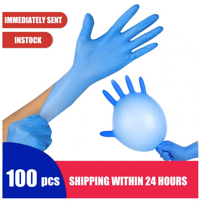 100 Pcs Car Protective Gloves Dirty Proof Slip Resistant Powder Latex Disposable Nitrile Gloves Hands Protection Car Washing