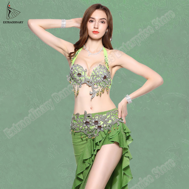 New Women Oriental Dance Costumes Top Bellydance Hip Scarf Carnaval Belly Dance Bra Belt Set Performance Clothes Sexy