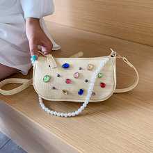 Female Pearl Handbag Purse Leather Elegant Rhinestone Shoulder Crossbody