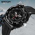 SANDA Для мужчин s спортивные часы 2019 Элитный бренд термометр военные кварцевые цифровые часы Для мужчин S Shock двойной Дисплей часы Relogio