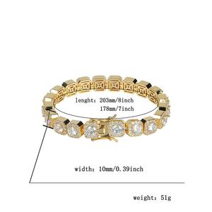 Image 5 - JINAO 1 Row Gold Silver color AAA 10mm Cubic Zirconia Paved All Iced Out Tennis Bling Lab CZ Stones Bracelet