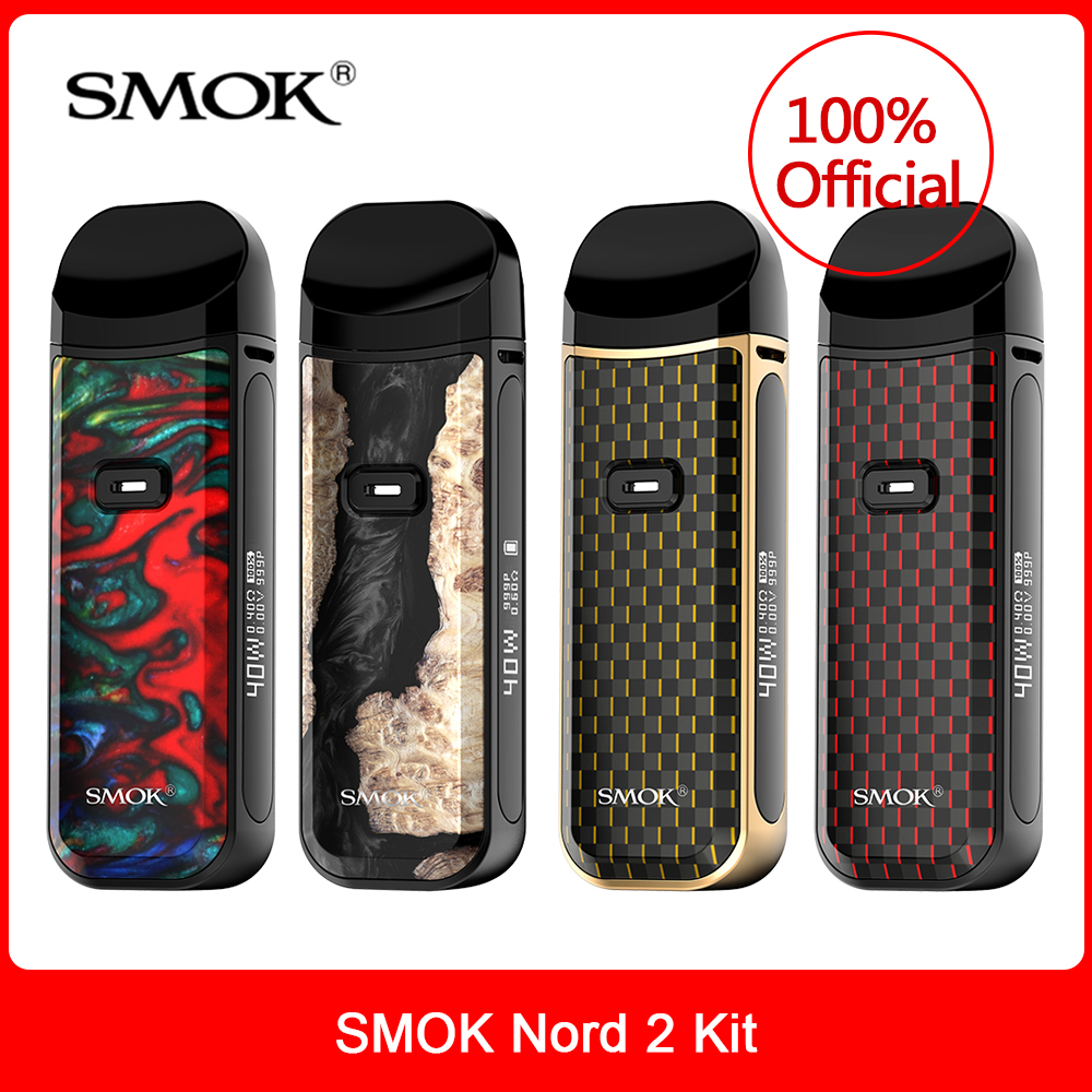 Original SMOK Nord 2 Kit 40W 1500mah RPM Pod 4.5ml RPM Mesh Nord Coil  OLED Screen E-Cig Vaporizer Vape Vs Novo RPM