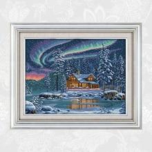 The Aurora Borealis Cross Stitch Patterns 14CT 11CT DIY Handwork Embroidery kits Needlework Set Wholesale Home Decoration