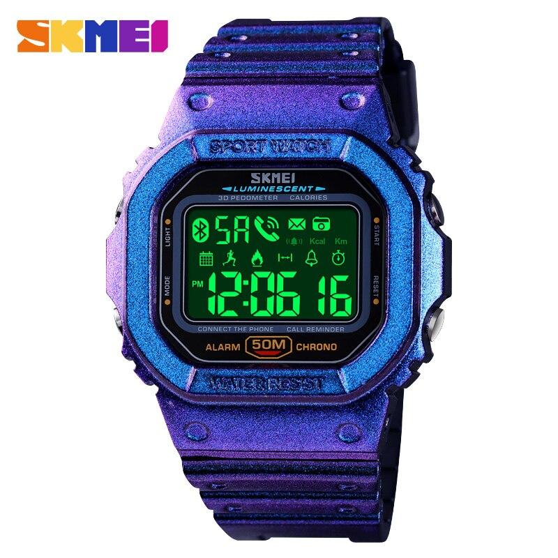 SKMEI Bluetooth Watch Men Sport Digital Wristwatches Mens Pedometer Calorie Tracker For Iphone Huawei Xiaomi Male Relogio 1629
