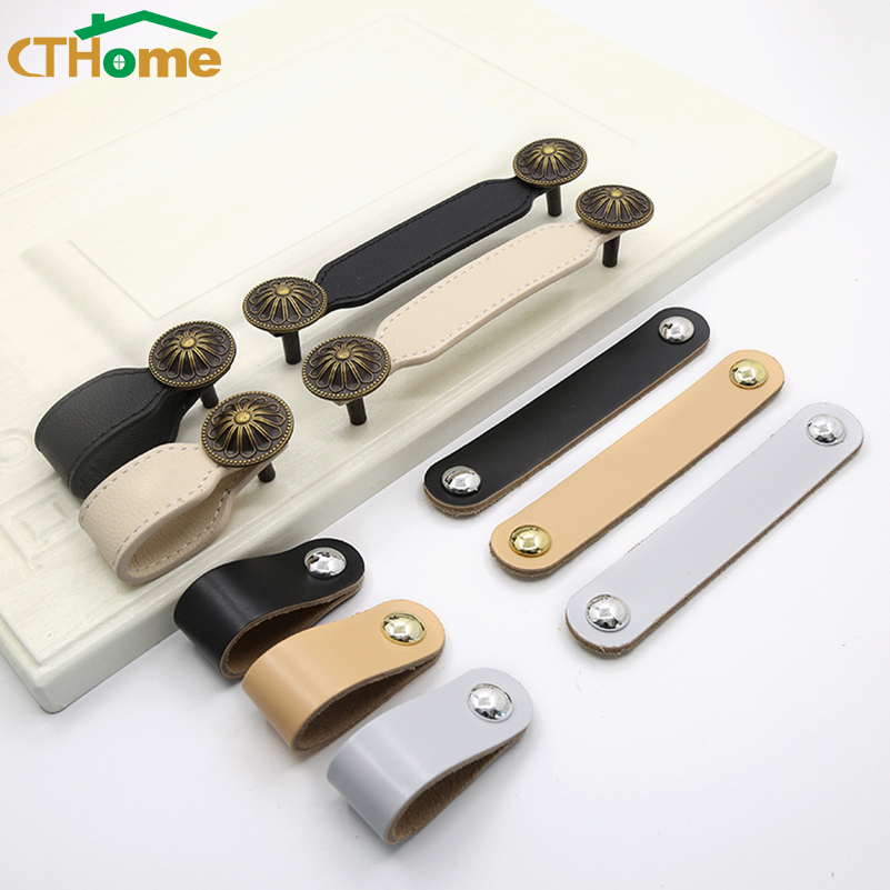 128mm Leather Dresser Handle Wardrobe Drawer Pulls Equipment Cabinet Kitchen Handle Black Door Knobs And Handles For Furniture