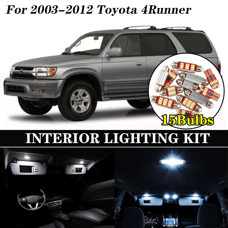 15Pcs White Ice Blue Canbus LED Lamp Car Bulb Interior Package Kit For 2003-2012 <font><b>Toyota</b></font> <font><b>4Runner</b></font> Map Dome Trunk Door Light image
