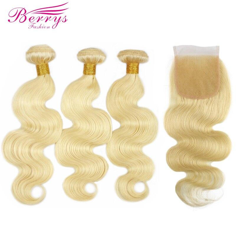 Berrys Fashion 613 Blonde Color Brazilian Body Wave 3 Bundles with Closure 100 Human Hair Weaving
