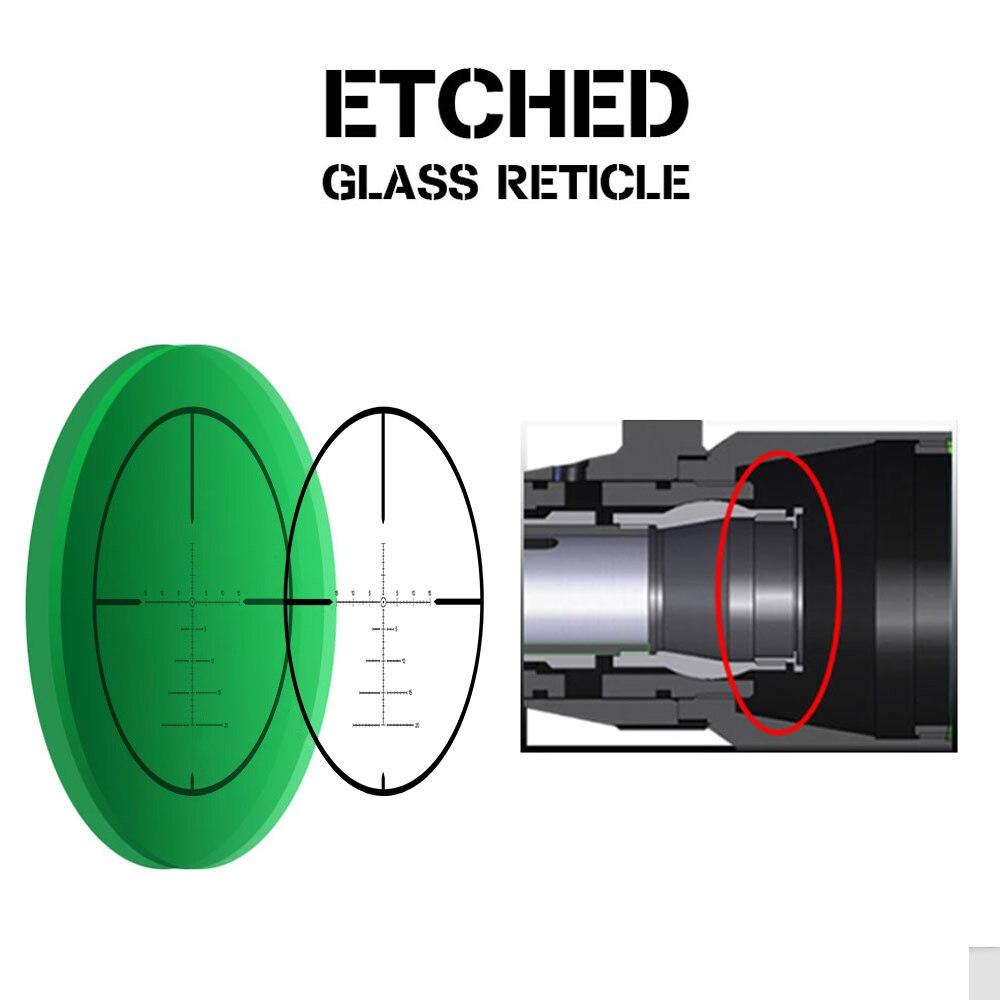 vidro gravado retículo vermelho iluminação lateral paralaxe