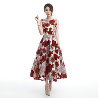 Vintage Flower Tulle Evening Dress Women Sexy Applique A Line Long Formal Dress Elegant Evening Gowns Plus Size