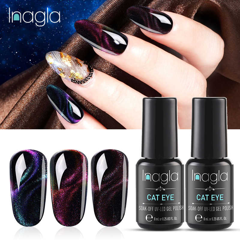 Inagla 8 Ml Chameleon Magnet Gel Polandia 3D Cat Eyes UV Nail Polish Rendam Off Tahan Lama LED Gel Nail art Pernis Hitam Dasar Perlu