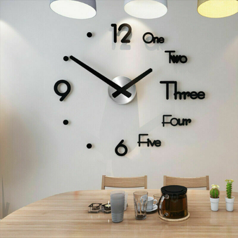 Modern Minimalist Wall Clock Fashion 3D Large Size Vogue Mirror Sticker DIY Needle Quartz Wall Clocks for Home Living Room Decor