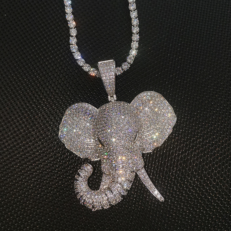 Hip Hop AAA Cubic Zirconia Pave Bling Iced Out Elephant Animal Pendants Necklace for Men Women Fashion Jewelry Gold Silver Color