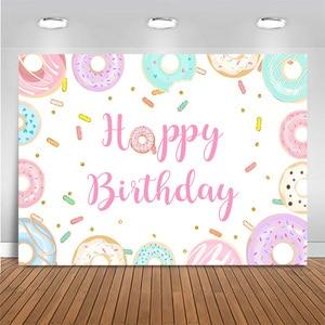 Image 3 - Banderole de comptoir de desserts, accessoires de décoration de fête danniversaire, Donuts de nouveau né, 1er anniversaire, photographie de fond