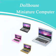 Cute Simulation Mini Laptop Computer Dollhouse Miniature 1:12 Alloy Crafts Dollhouse Decoration for Doll House DIY Accessories