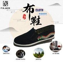 F.N.JACK zapatos únicos para hombre con decoración de patrón de dragón Vintage para hombre Casual negro deslizamiento en lona zapatos de verano