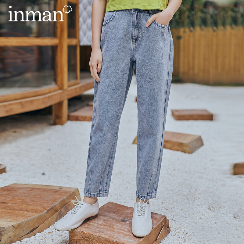 INMAN 2020 Spring New Arrival Literary Dimple Series Retro Medium Waist Wash Slimmed Hip Pant