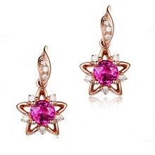 14K Gold Red Brincos Drop Diamond Earring for Women Rose Jade Perola Boucle Gemstone Perle Orecchini Garnet Earrings