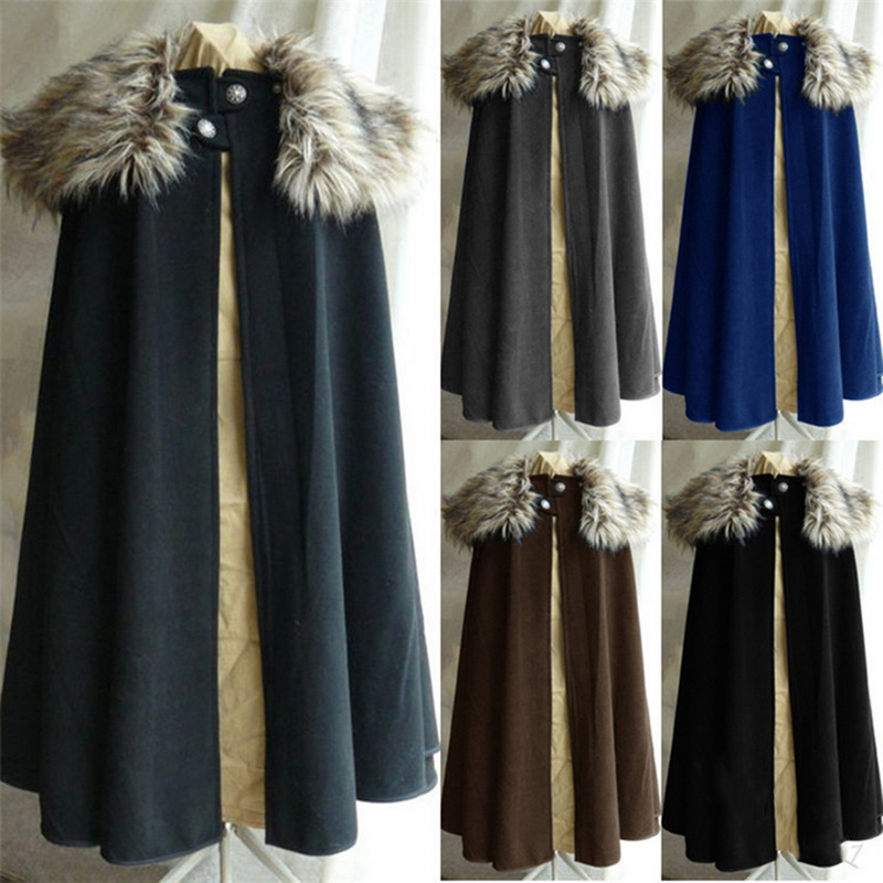 Vogue Medieval Men's Winter Viking Cape Coat Vintage Ranger Coat Gothic Style Fur Collar Cape Cloak Jon Snow Costume Coat Men