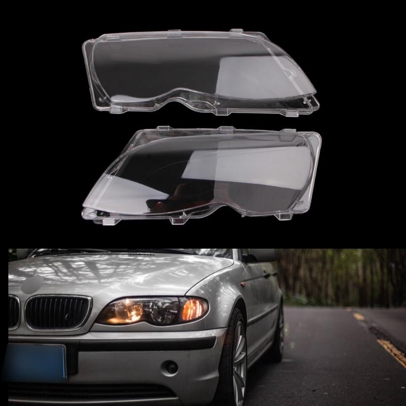 Envío Gratis, producto nuevo, 2 uds., lentes de repuesto para faros delanteros de coche, cubierta protectora de faro izquierdo y derecho para BMW E46 4 DR