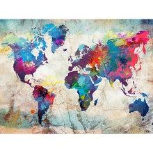 Diy картина по номерам карта мира Картина маслом Раскраска современная