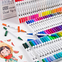 12/24/36/48/60/72/100Color Drawing Painting Fineliner Art Marker Pen Watercolor Dual Tip Brush Pen for Drawing Art Supplies