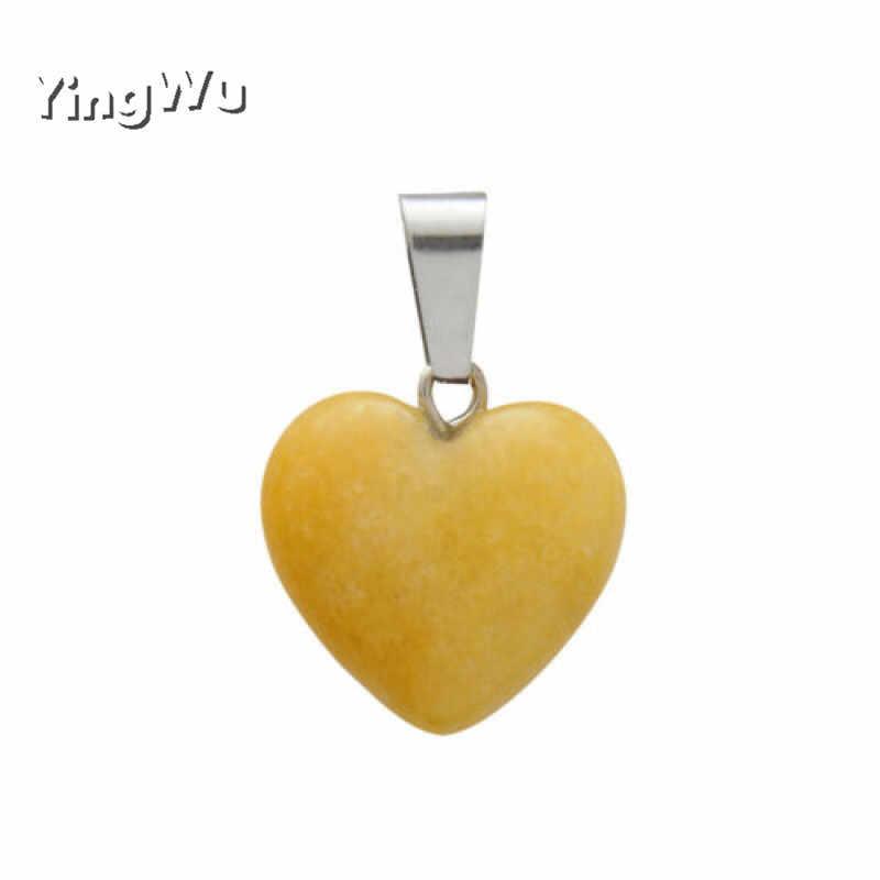 Yingwu hurtownie 2020 Assorted serce kamień naturalny charms zawieszki do tworzenia biżuterii dobrej jakości 25mm darmowa wysyłka