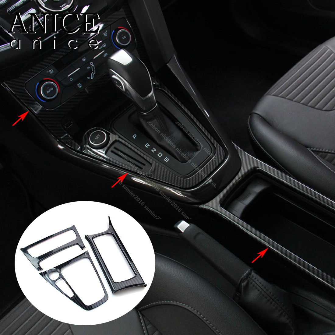 Fit For Ford Focus 2015 2016 2017 2018 MK3 RS ST Carbon Fiber Color ABS Inner Gear Shift Panel Cover Trim LHD