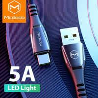 MCDODO 5A Supercharge Type de LED C câble arrêt automatique pour Huawei P30 Pro Mate P20 2 Lite Charge rapide QC4.0 Charge rapide type-c