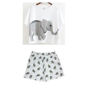 Image 5 - Elephant Pajama Set Women Graphic White Cotton Sexy Cute Home Tops Shorts Loungewear Nightwear Sleepwear Teen Girl Plus Size