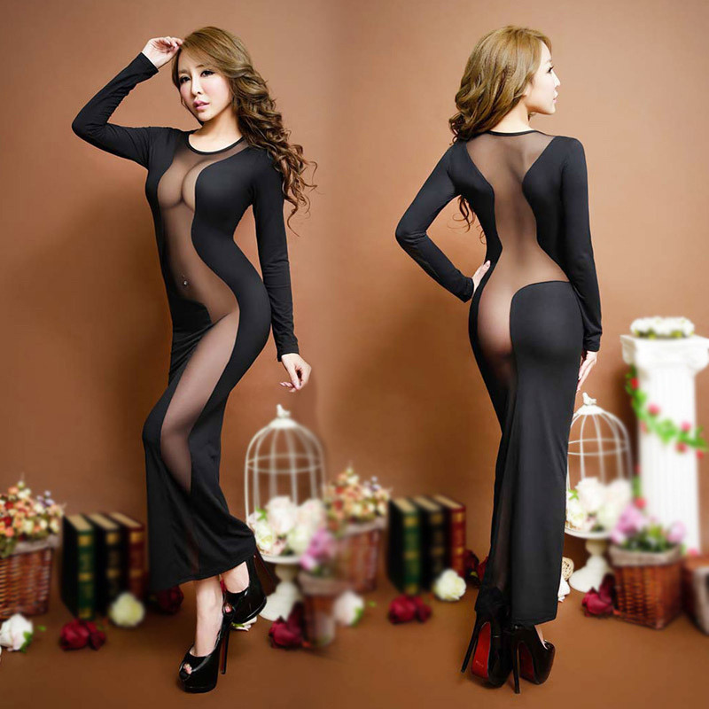 Women Black Long Dress Robe Nightwear Lady Slips Patchwork Mesh See Throught Dress Back Hollow Out Party Night Club Sleepwear