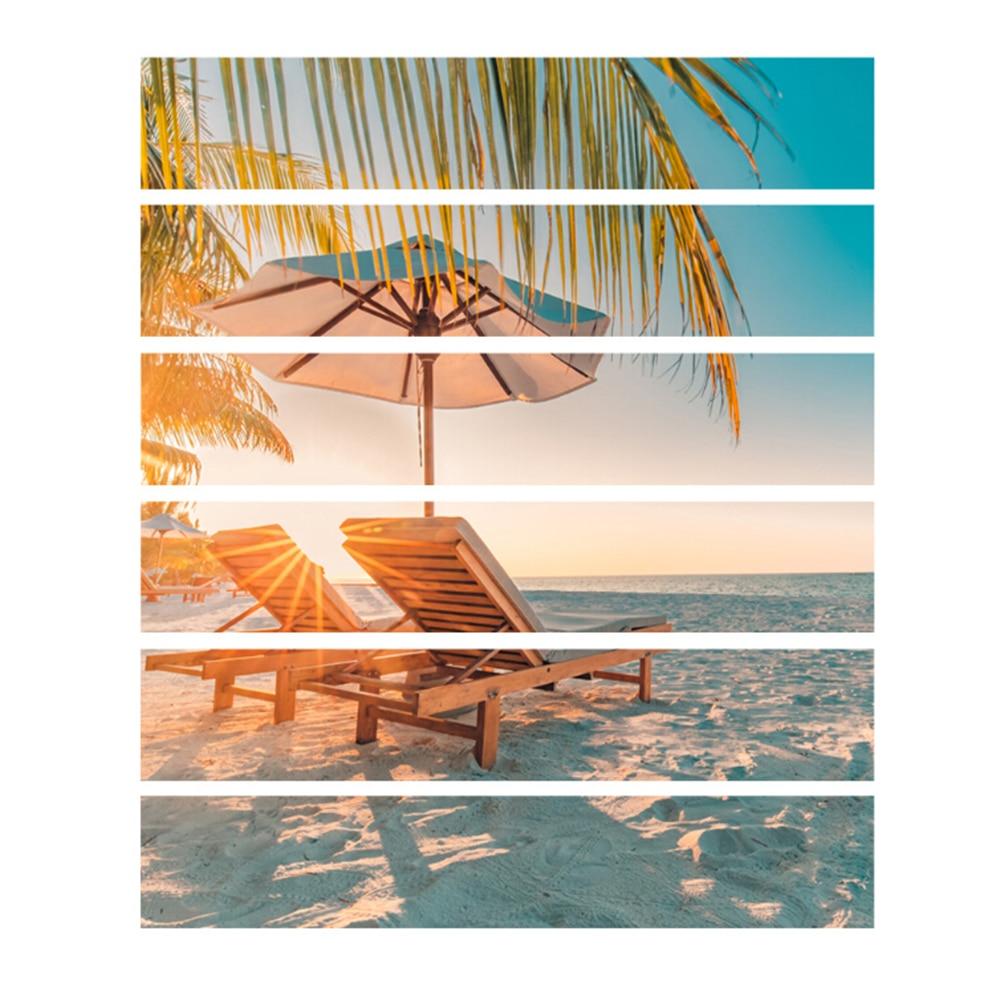 6pcs/set Summer Beach Coconut Tree 3D Window View Sticker Wall Murals Art Removable sticker living room decoration
