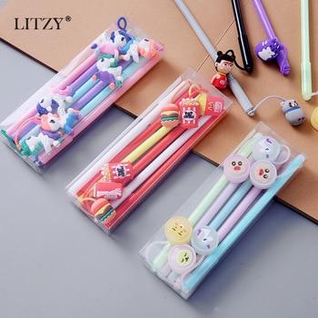 LITZY 6pcs/set Erasable Gel Pen Kawaii Unicorn Animal Set for School Office Stationary Supplies Cute Pendant