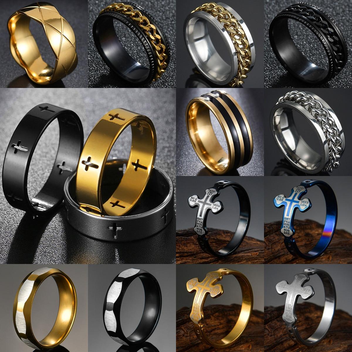 Новинка 2021, модное золотое, серебристое, черное, из нержавеющей стали, в стиле панк, для мужчин и женщин, с крестом, гладкое, свадебный подарок...