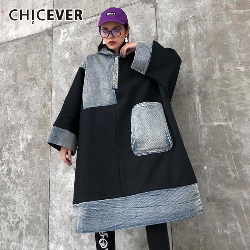 CHICEVER Patchwork Denim Hit Color Sweatshirt Women Hooded Long Sleeve Pocket Oversize Loose Female Sweatshirts 2020 New Clothes