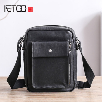 AETOO Men's leather shoulder bag, soft leather vertical small bag, head layer planted bullskin men's small bag