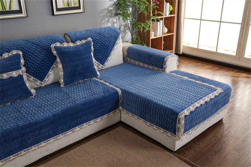 Thick Slip Resistant Couch Cover for Corner Sofa Made with Plush Fabric Including Lace for Living Room Decor 39
