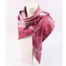 Heavy 100% Silk Scarf Fashion Floral Silk Shawl Wraps Double Sides Prints 88*88cm Female Gifts