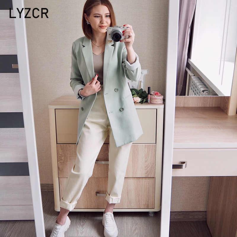 LYZCR Denim Musim Panas Khaki Jeans Wanita 2020 Wanita Longgar Ibu Boyfirends Jeans Femme Pergelangan Kaki Panjang Wanita Jeans Pensil Katun celana