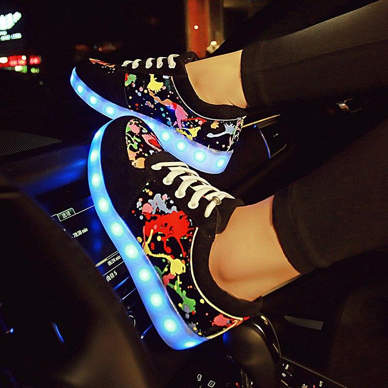 Zapatillas de deporte luminosas con luz de fondo brillantes zapatillas de mujer con suelas brillantes para niñas zapatillas de luz tenis infantil