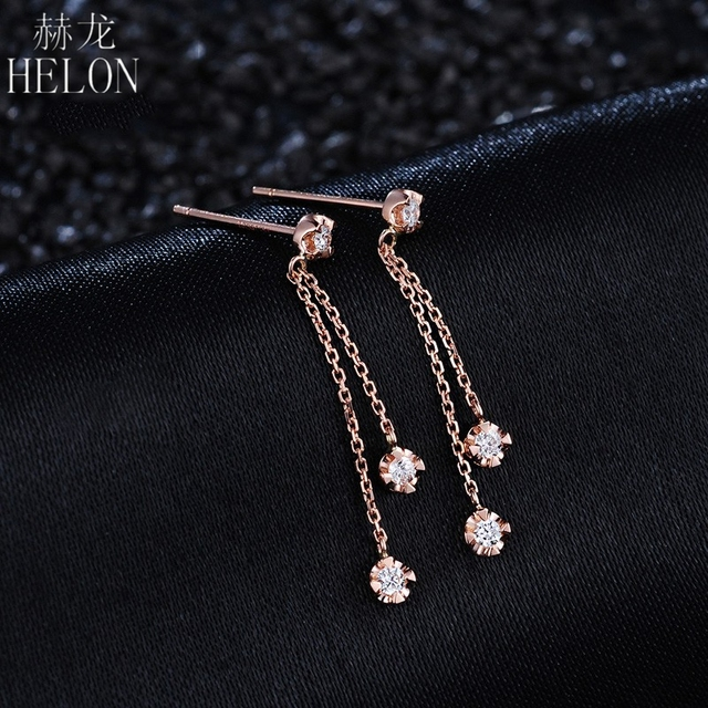 HELON Solid 18K Rose Gold AU750 0.15ct H/SI Natural Diamonds Engagement Wedding Women Trendy Fine Jewelry Gift Stud Earrings 2