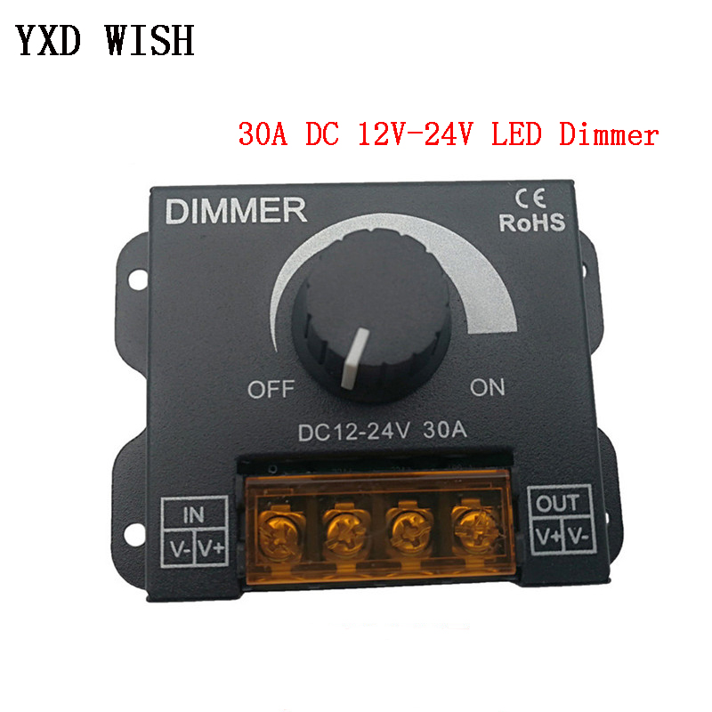 DC 12V-24V LED Dimmer Switch 30A 360W Voltage Regulator Adjustable Controller For LED Strip Light Lamp LED Dimming Dimmers
