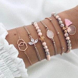 Женские богемные браслеты DIEZI, набор розовых браслетов с кисточками, черепаховая оболочка, цветок, кристаллы из бисера, ювелирные изделия